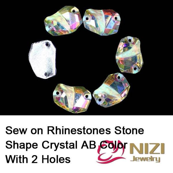 Strass resina Flatback Forma de Pedra de Cristal AB Cor Sew em Strass Para Vestido De Noiva Fashion Cristal Strass Para Roupas