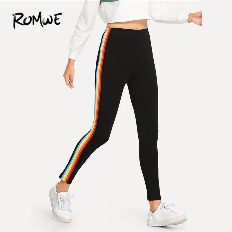 ROMWE Black Striped Side Skinny   Leggings   Women Casual Bottoms Pants Trending Products 2019 Autumn Fashion Spring Sporty   Leggings