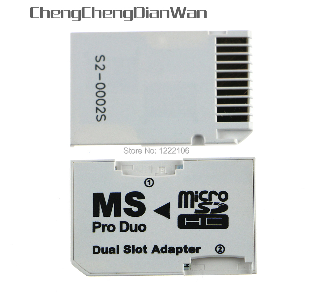 ChengChengDianWan Micro SD HC To Memory Stick MS Pro Duo Card Dual 2 Slot Adapter For PSP 1000 2000 3000