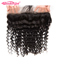 Wonder girl Brazilian Deep Wave Ear To Ear Pre Plucked Lace Frontal Closure Remy Hair 100