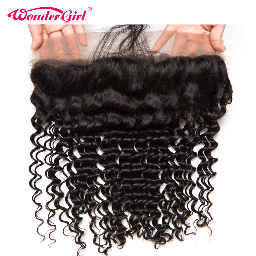 Wonder girl Brazilian Deep Wave Ear To Ear Pre Plucked Lace Frontal Closure Remy font b