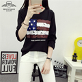 2016 Autumn New Women's Round Neck Long-Sleeved American Flag T-Shirt Fashion Loose Long-Sleeved T-Shirt, Ms. Chao
