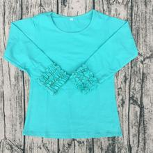 Long Sleeve Toddler Ruffle Shirts Triple Ruffle Shirts Wholesale Pure Sky Blue Icing Ruffle Shirt