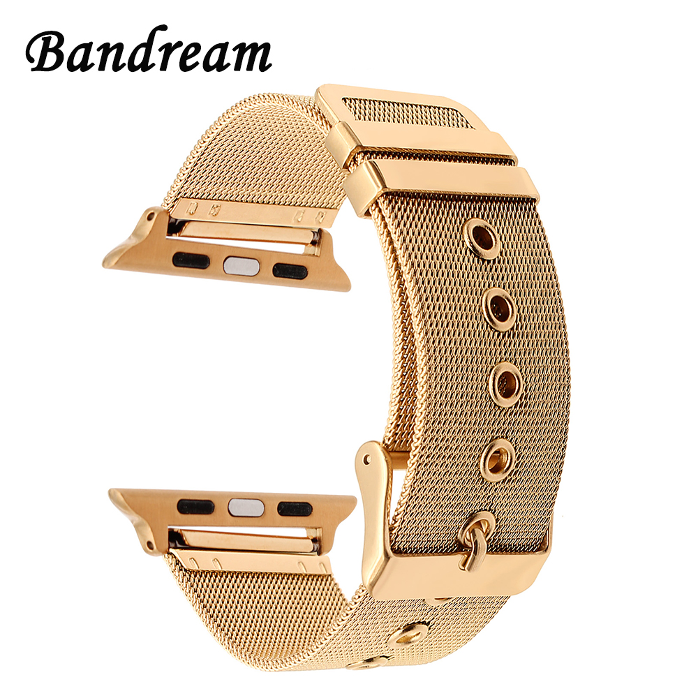 Milanese Watchband for iWatch Apple Watch 38mm 42mm Stainless Steel Band Woven Strap Wrist Belt Bracelet Rose Gold Black Silver 28mm convex stainless steel watchband replacement watch band butterfly clasp strap wrist belt bracelet black rose gold silver page 6