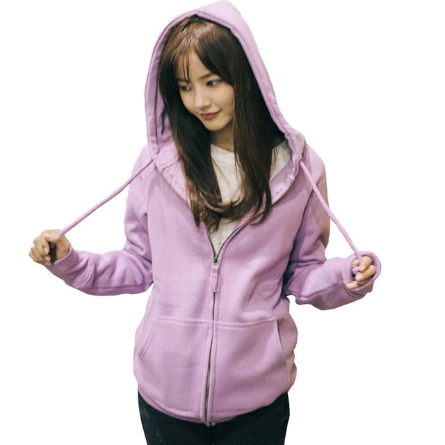 Purple Sweatshirts Women Zipper Up Hoodies Jackets Solid Brief Long Sleeve  Hoody Sudadera Girl Thicken Hooded a86763cd0