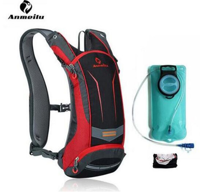 ANMEILU Men Women 8L Waterproof Bicycle Bag Optional  2L Water Bag Reflective Strips Cycling Bag Bicycle Hydration Backpack