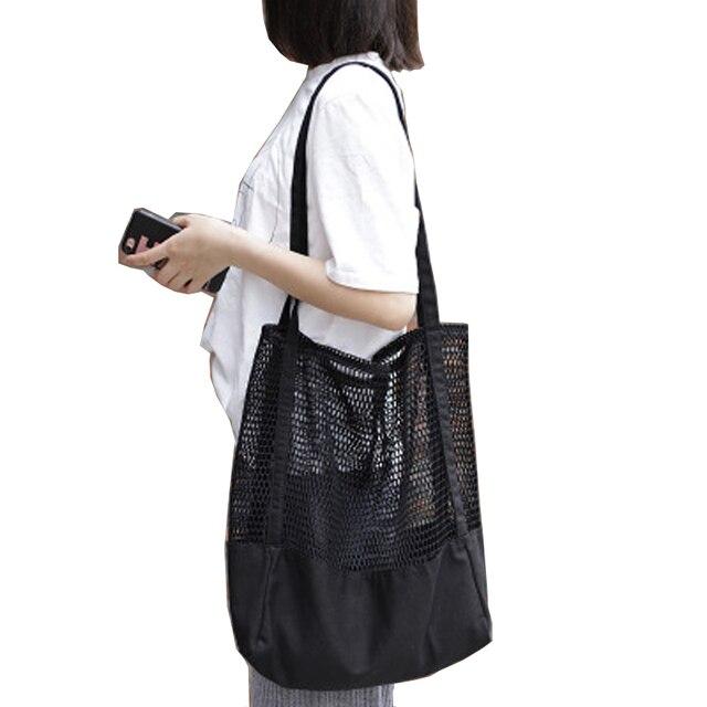Wanita Tas Belanja Lipat Designe Merek Tas Jaring Supermarket Belanja Dapat Digunakan Kembali Tas Warna Murni Tas Jaring Jala Sac utama Femme