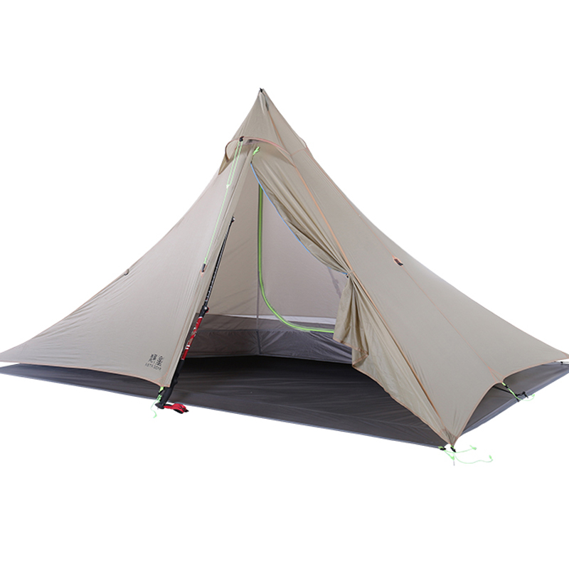 1-2 Person 2 Side Silicone Nylon Pyramid Fly Outdoor Lightweight Camping Tent 265*170*135cm