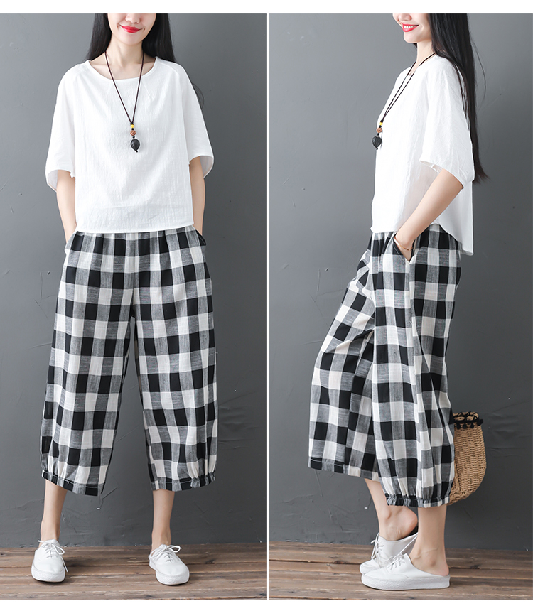 2019 Cotton Linen Two Piece Sets Women Plus Size Half Sleeve Tops And Wide Leg Cropped Pants Casual Vintage Women's Sets Suits 59