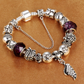 HOMOD Wing Jewelry Silver Charms Bracelet & Bangles With Heart Beads Bracelet for Women