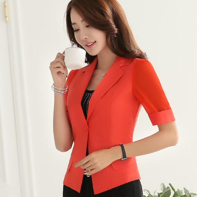 b7684168c76 Female career fashion half sleeve women blazers New plus size formal slim  sexy jackets office ladies plus size work wear uniform