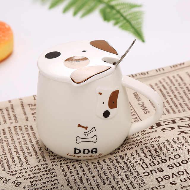 Linda taza de café con dibujos animados creativa taza de perro con tapa y cuchara tazas de leche de cerámica taza para desayuno u oficina Envío Directo