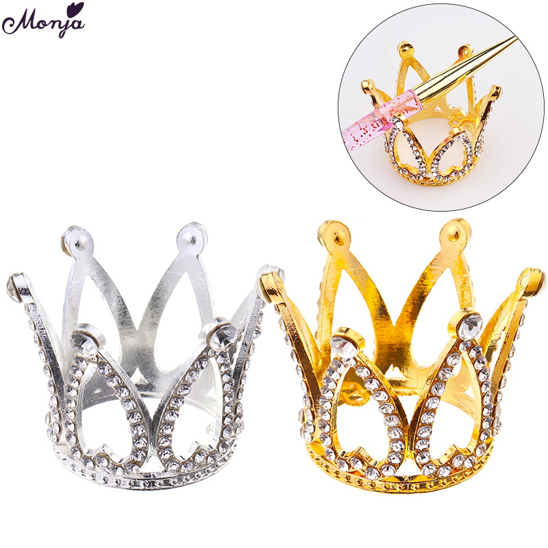 Monja Gold Silver Rhinestone Crown Design Nail Brush Holder Nail Art Painting Drawing Pen Displayer Stand Manicure Tools