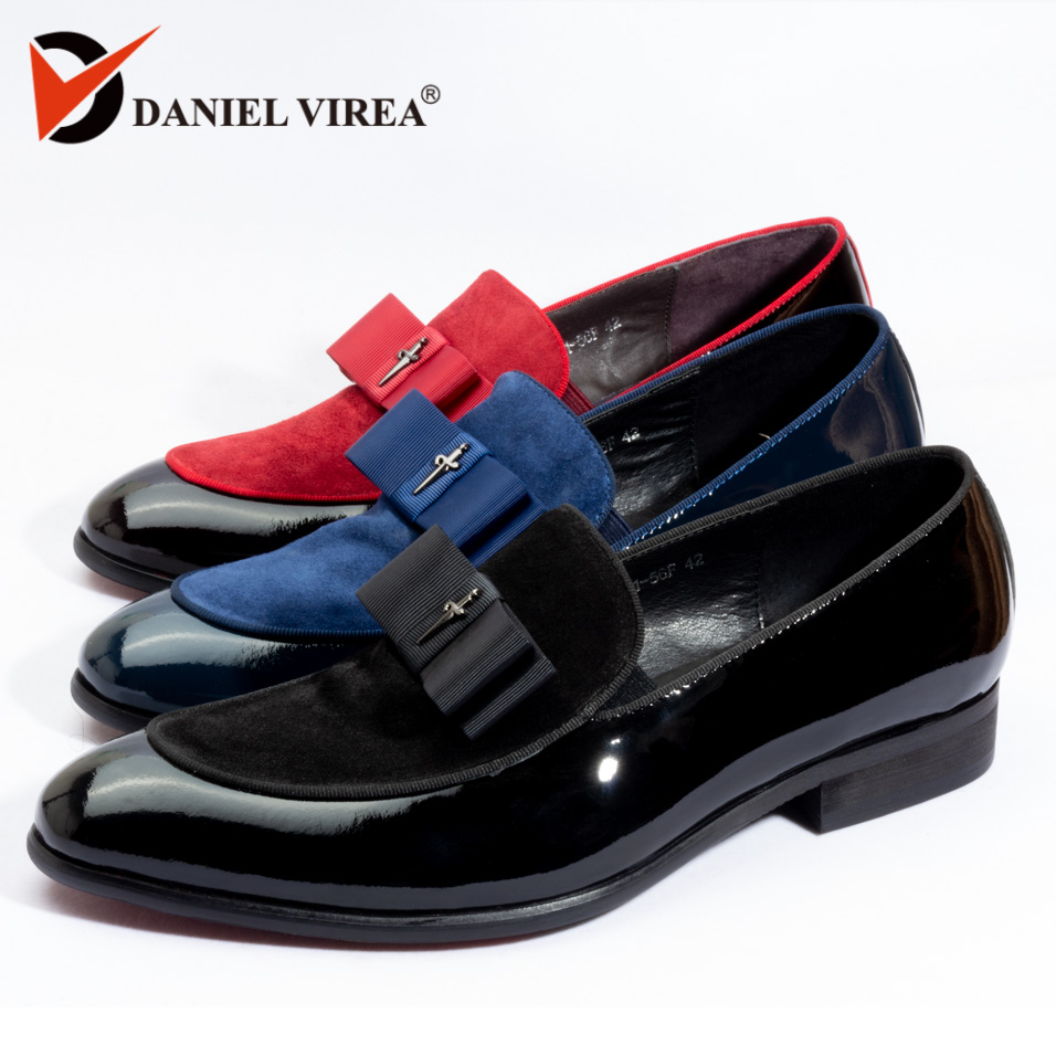 2018 été automne luxe Véritable Brevet chaussures hommes en cuir slip-on boîtes nœud papillon De Mariage Noir bleu Robe Banquet Nubuck hommes Mocassins