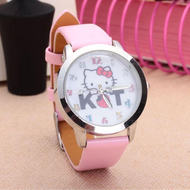e3ac8481734f Dibujos Animados hermosa chica fresa Hello Kitty gato KT estilo Color  número dial niños estudiantes de