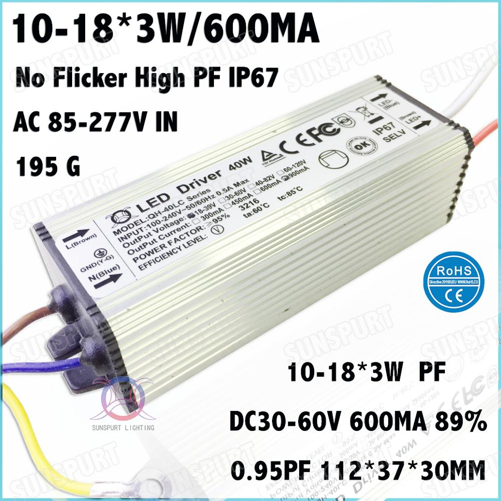 3 Pcs No Flicker PFC IP67 40W AC85-277V LED Driver 10-18x3W 600mA DC30-60V Constant Current Power For Ceiling Lamp Free Shipping