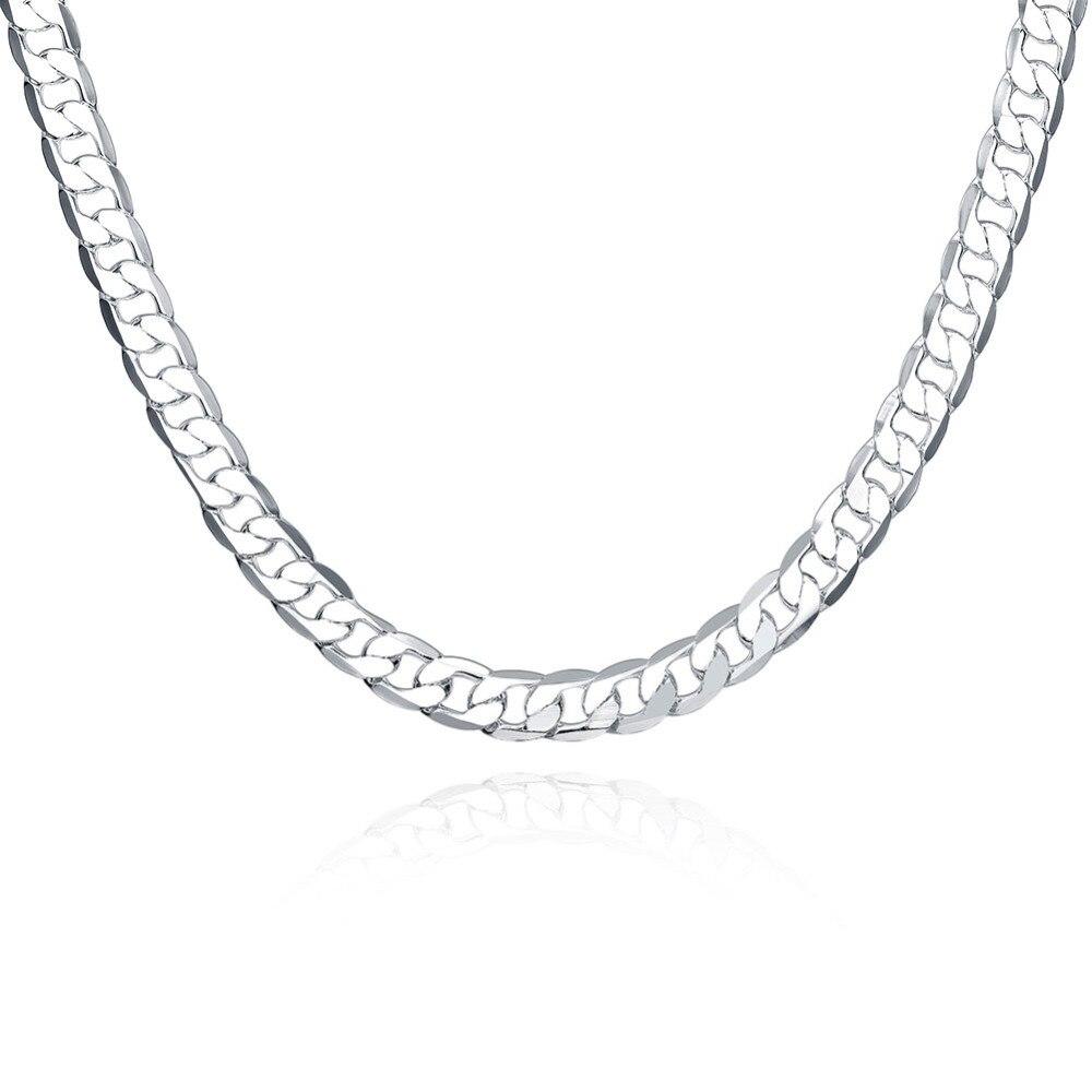sterling-silver-jewelry 8mm flat side men women 925 silver necklace choker floating locket rope chain colliers perles N034
