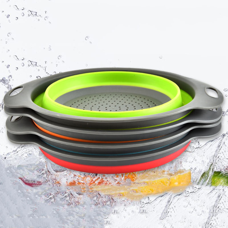 Foldable Silicone Washing Basketes Colander Fruit Vegetable Strainer Collapsible Drainer Kitchen Tools Drain Vegatable Basket