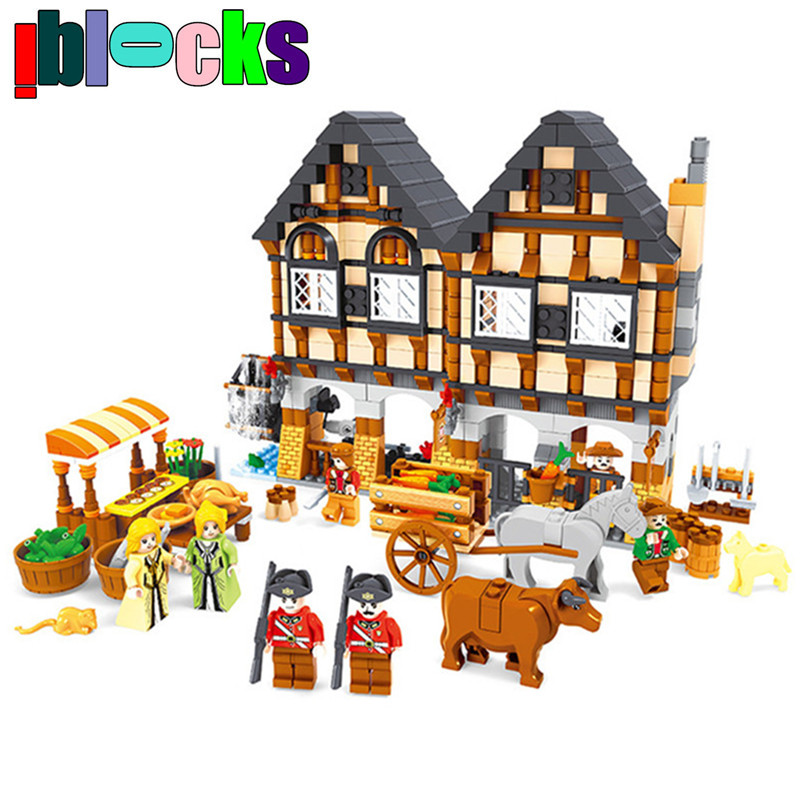 ФОТО IBLOCKS Large Farm series Castle Market DIY Brick Blocks Set Animals and Figures Learning Education Building Toys For Children