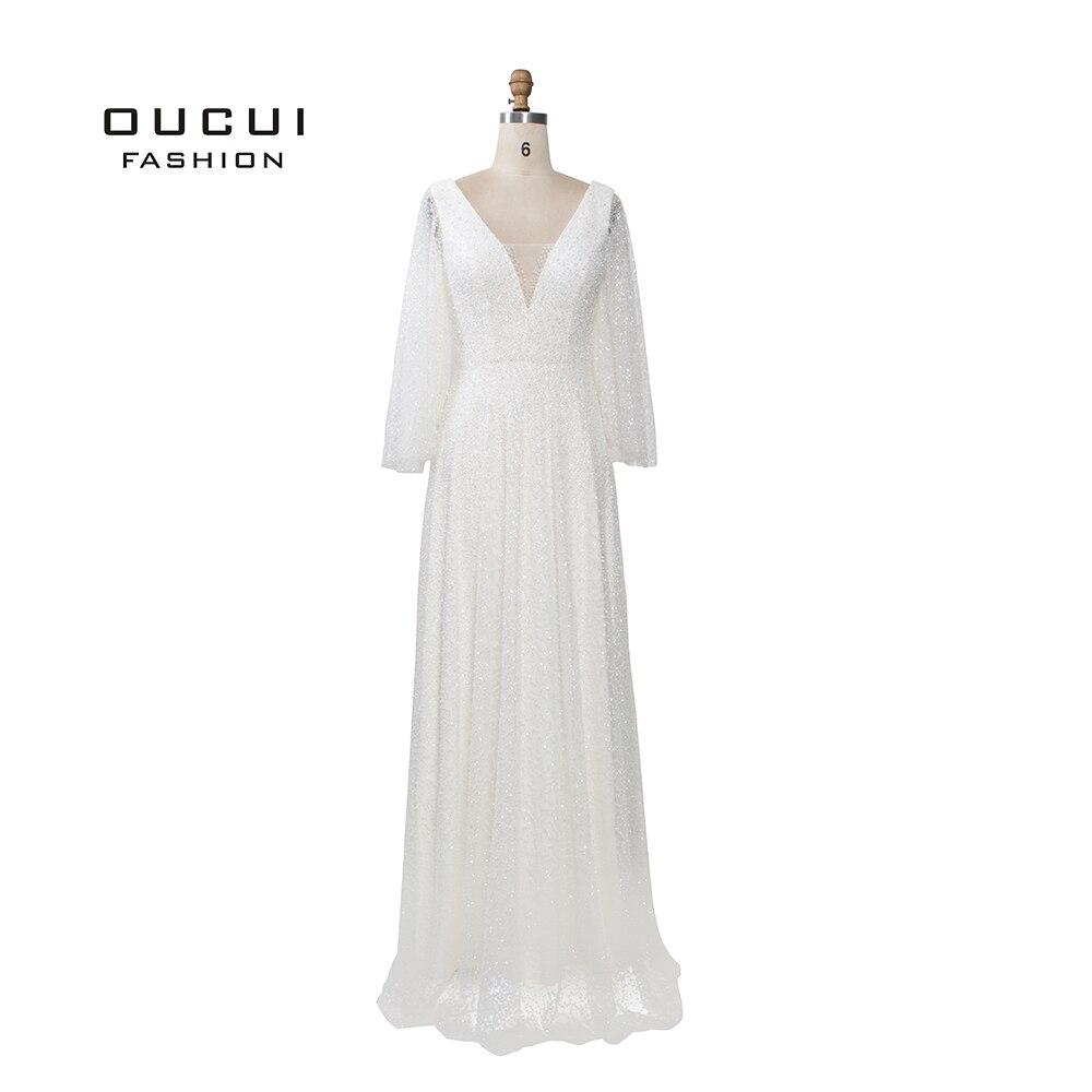 Abiye Blanc Sirène Perles Paillettes Nouvelle De Mariage Partie De Bal Robes Sans Manches Châle A-ligne Robe De Soirée Abendkleider OL103437