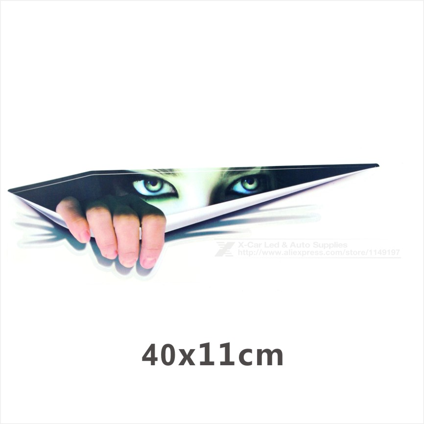 43X11cm Lifelike 3D Eyes Peeking Monster Waterproof Fashion Car Sticker Car Styling For All Cars Chevrolet Cruze Ford Focus