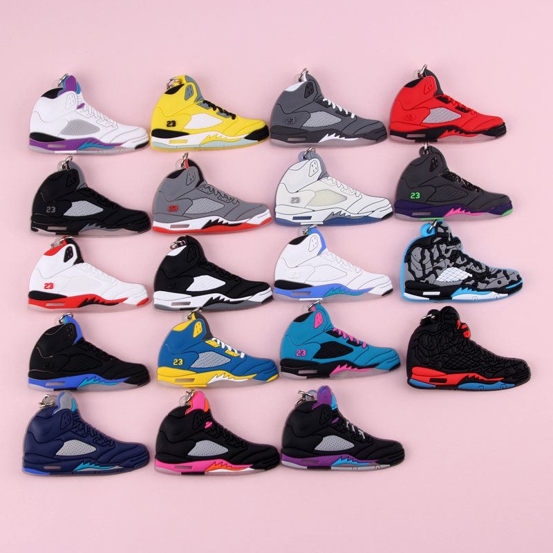 Keychain New Exotic Mini Jordan 5 Retro Shoe Key Chain Men And Women Kids Gift Keyring Basketball Sneaker Key Holder Porte Clef