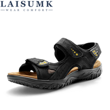 LAISUMK Genuine Outdoor Casual Driving Beach Men Sandals Flat Quality Summer Leather Soft Sole Shoes