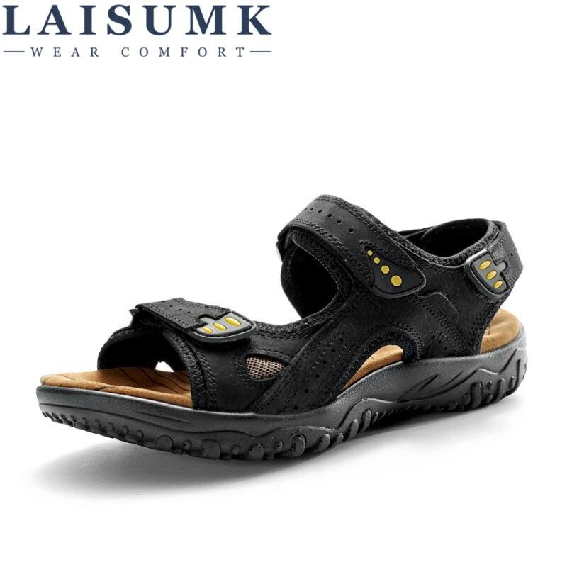 LAISUMK Genuine Outdoor Casual Driving Beach Men Sandals Flat Quality Summer Leather Soft Sole Men Shoes