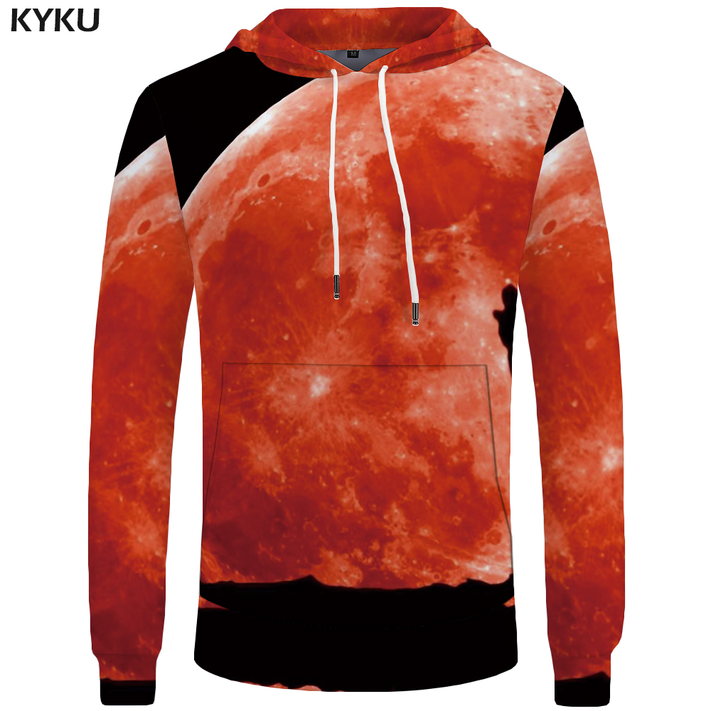 KYKU Wolf Hoodies Men Clothing Black Moon Hoddie Animal Big Size Indian Sweatshirts Pocket Mens 3d Hooded New Casual Sweatshirt