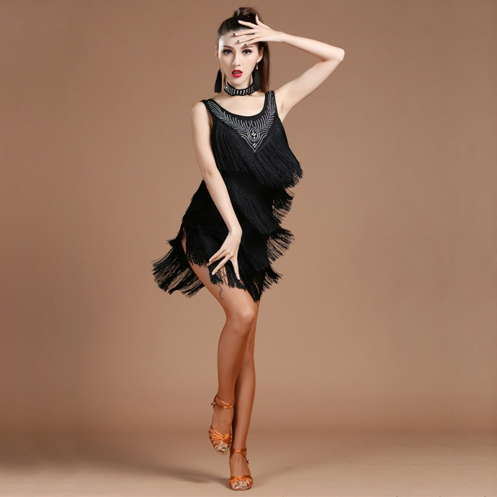 Top Grade 2018 Women Dance Clothes Salsa Samba Dress V neck Fringes Dress Beaded Latin Dresses