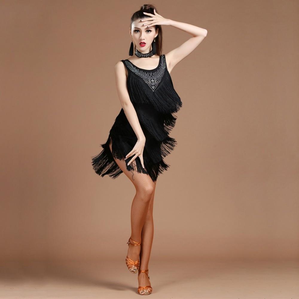 Top Grade 2018 Women Dance Clothes Salsa Samba Dress V-neck Fringes Dress Beaded Latin Dresses With Earrings