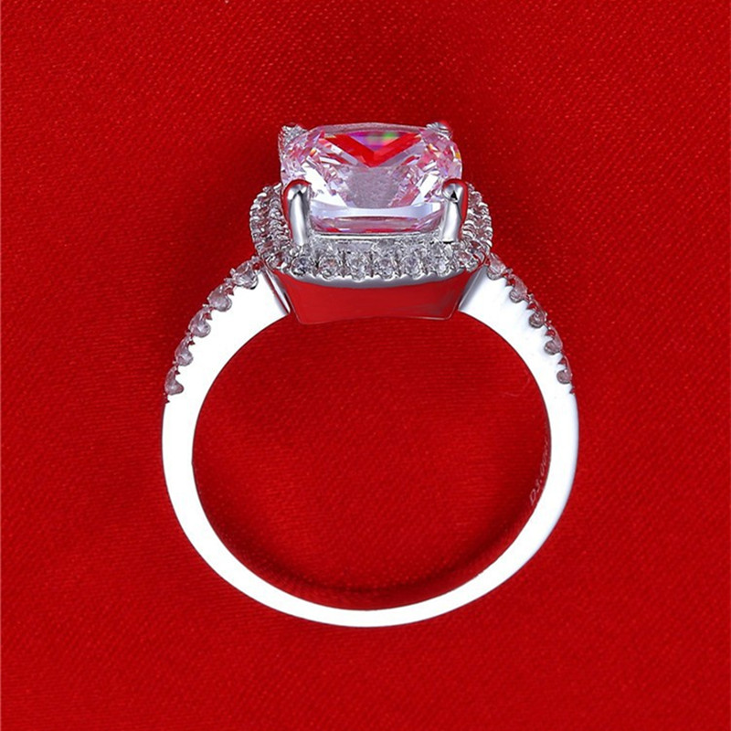 AINUOSHI Luxury 3 Carat Engagement Halo Rings Princess Stlye Cushion - მოდის სამკაულები - ფოტო 5