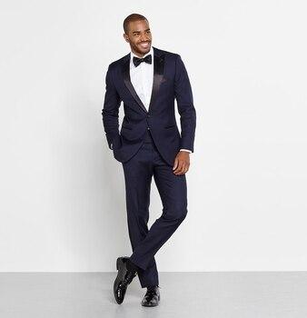 Classic Style One Button Navy Blue Groom Tuxedos Peak Lapel Groomsmen Best Man Mens Wedding Suit (Jacket+Pants+Tie) W:487