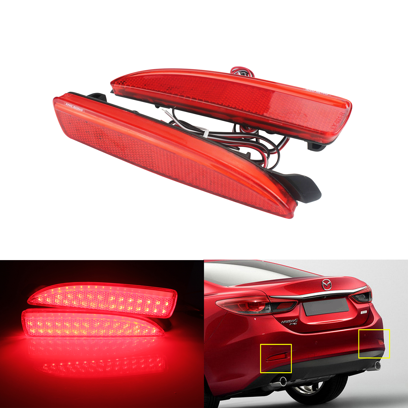ANGRONG 2X Rear Bumper Reflector <font><b>LED</b></font> <font><b>Tail</b></font> Stop Brake <font><b>Light</b></font> For <font><b>Mazda</b></font> 2 3 5 <font><b>6</b></font> DY Axela Atenza image