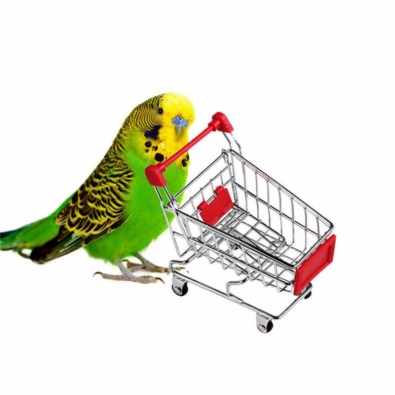 Mini Supermarket Keranjang Belanja Troli Hewan Peliharaan Burung Kelinci Hamster Burung Beo Mainan Keranjang Gerobak Grosir Dijual Warna Acak