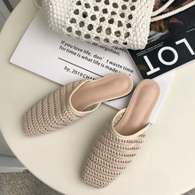 2019 Women Slippers Spring Summer Cane Weave Mules Shoes Outside Beach Flat Slides Square Slip On Half Slipper Shoes недорого