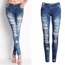 Bottoms Jeans Woman Hot Prick Holes Jeans Fashion Ladies Cotton Denim Pants Stretch Womens Bleach Ripped Skinny Jeans for Female
