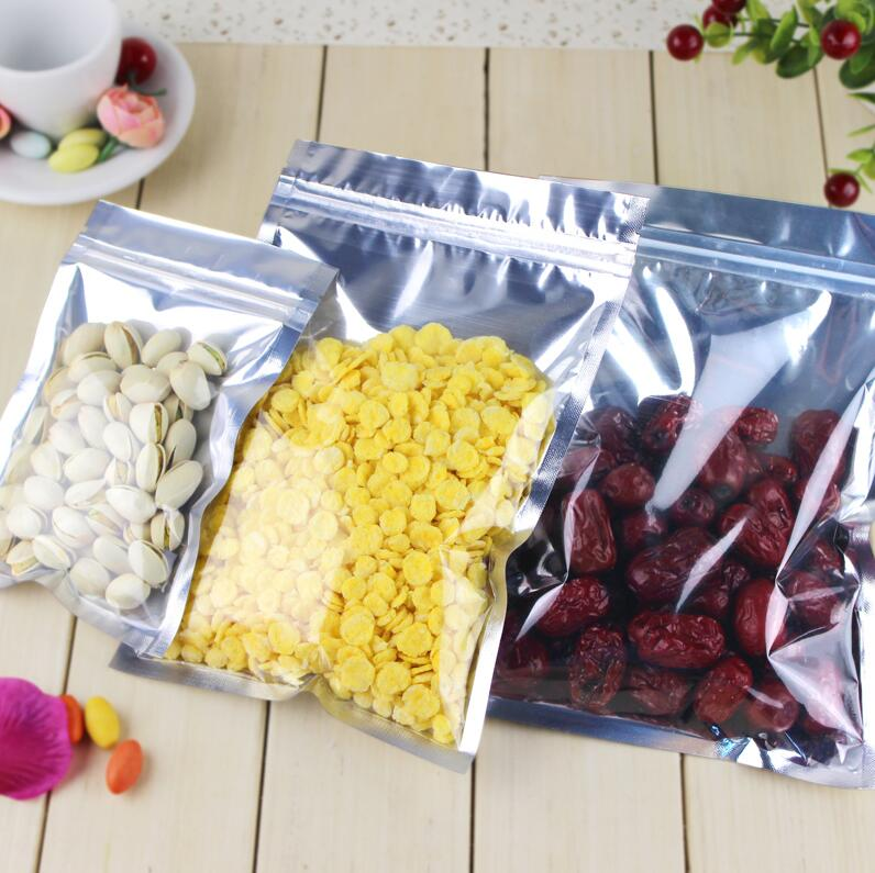 100 Pcs Clear Aluminum Foil Bag Self Seal Zipper Ziplock Packing Food Bag Retail Reseala ...