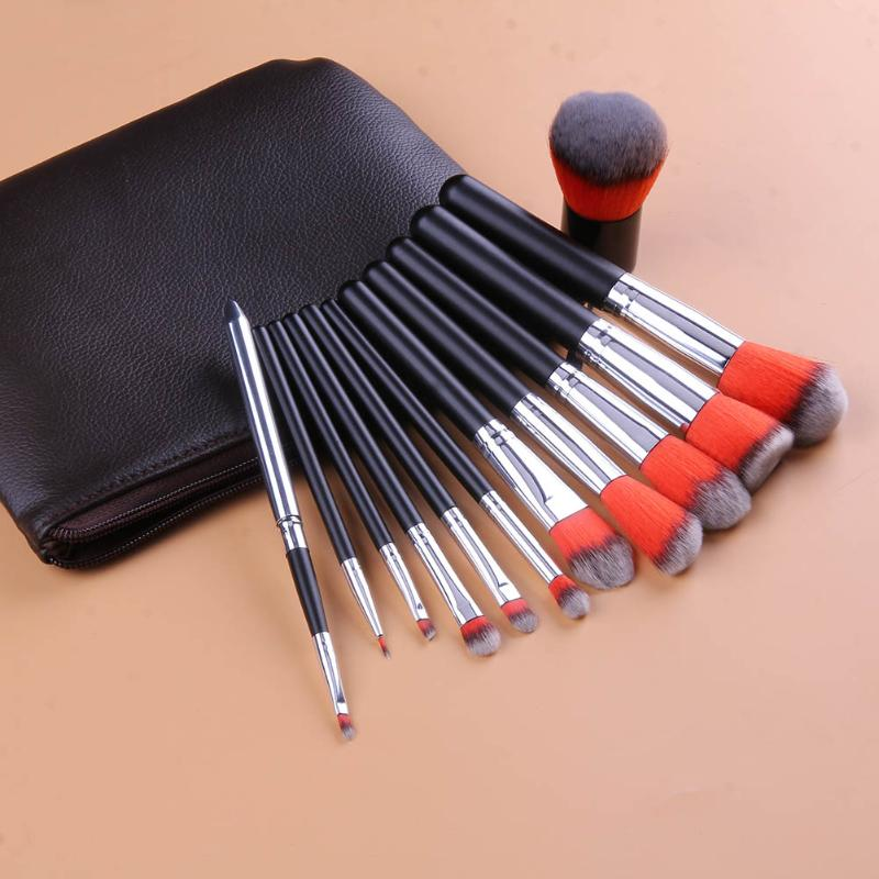 12PCS RED BLACK COMPLETE MAKEUP BRUSH SET Professional Luxury Set Make Up Tools Kit Powder Blending brushes with Bag 147 pcs portable professional watch repair tool kit set solid hammer spring bar remover watchmaker tools watch adjustment