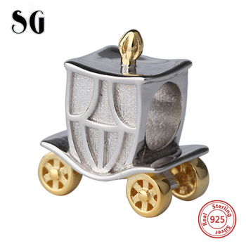 Silver Galaxy Pumpkin Carriage Beads For Women Fit Authentic pandora Bracelet Charms Silver 925 Original Fashion DIY Jewelry choruslove jack o lantern charms authentic 925 sterling silver pumpkin coach carriage beads fit pandora halloween diy bracelet