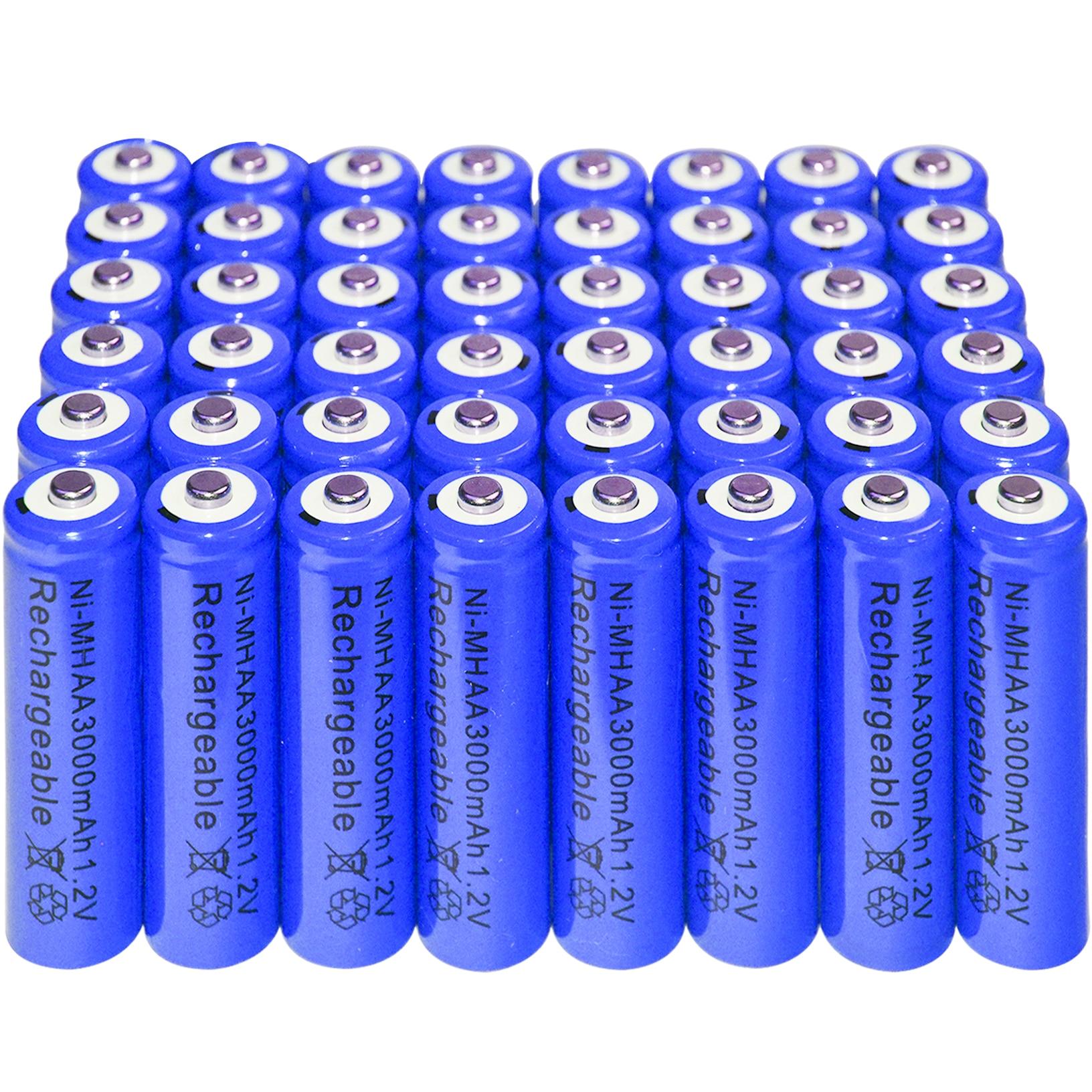 48xAA battery Rechargeable NI-MH 3000mAh 1.2V Blu batteries Bulk Nickel Hydride