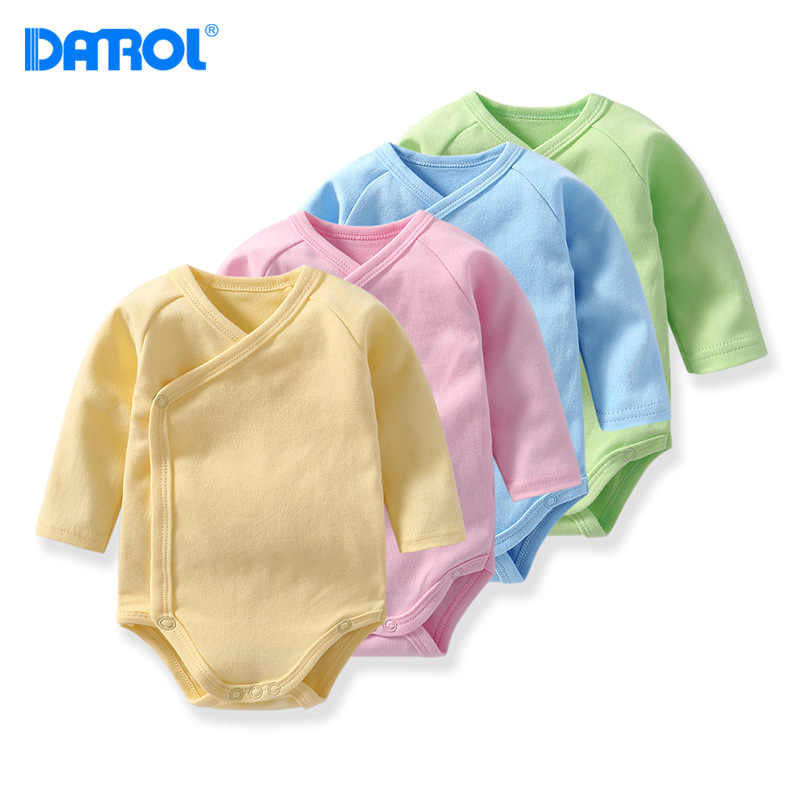 DANROL Newborn Baby bodysuits Cotton Long Sleeve Underwear Jumpsuit Candy color Baby Boy Girl soft climbing clothes