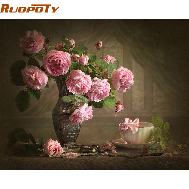 RUOPOTY Frame Camellia Flower Europe Abstract Oil Painting DIY Digital Painting By Numbers Kits Acrylic Paint Drawing By Number