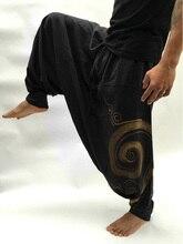 Мужские повседневные мешковатые шаровары с эластичным поясом для йоги в стиле хиппи, мужские мешковатые шаровары в стиле бохо в стиле хиппи...