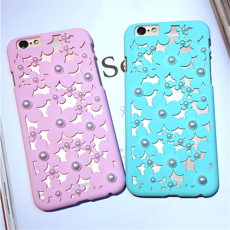 New 3D Elegant Hollow Daisy Flowers Clear Pearl Fundas Ultra Slim Matte Phone Cases Cover For iPhone 5 5G 5S 6 6G 6S 6Plus 5.5