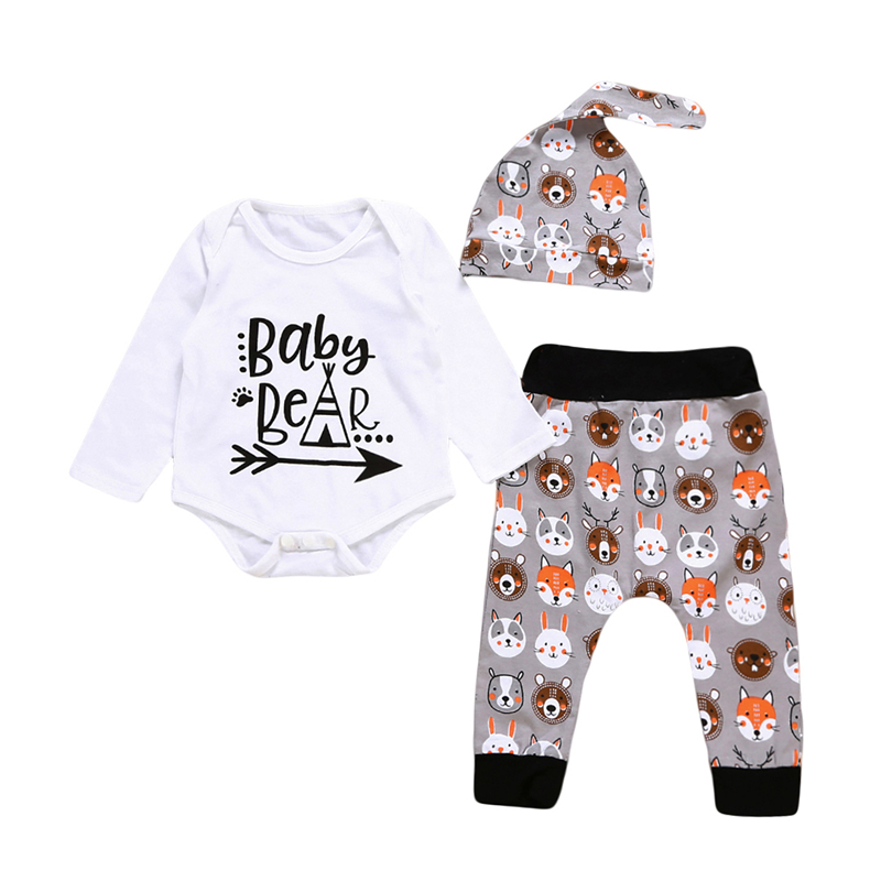 3PCS Baby Unisex Cartoon Clothes Set Fall Newborn Baby Boy Girl Romper Beer Print Pants Outfits 2017 New Bebes Kids Clothing Set baby newborn boy clothes sets birthday gift boys baby romper vest tops long pants 3pcs outfits set 0 24m boys clothes romper