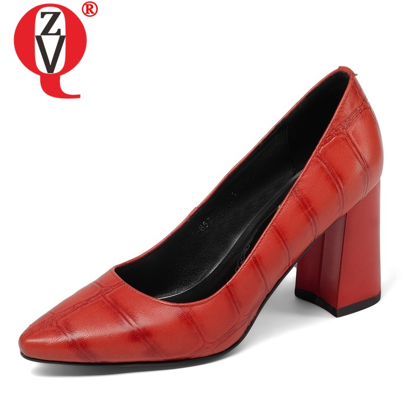 ZVQ women shoes new fashion gingham genuine leather super high hoof heels pointed toe slip on
