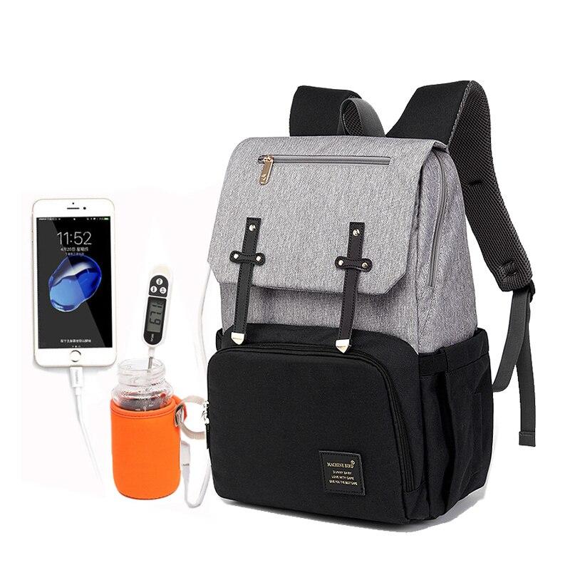 2019 bolsa de pañales mamá papá mochila bebé cochecito bolsa impermeable Oxford bolso de enfermería bolsa de pañales Kits USB soporte recargable