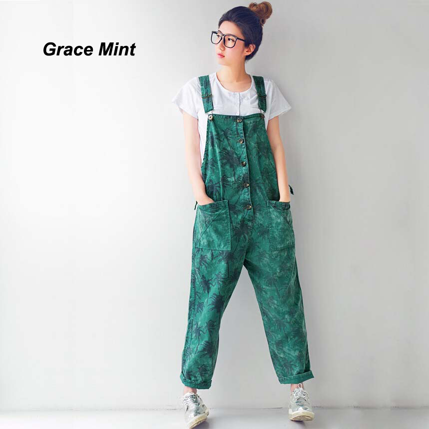 Women's Fashion Overalls Coconut Tree Print Denim Pants Women Casual Cotton Overalls Pants M/L