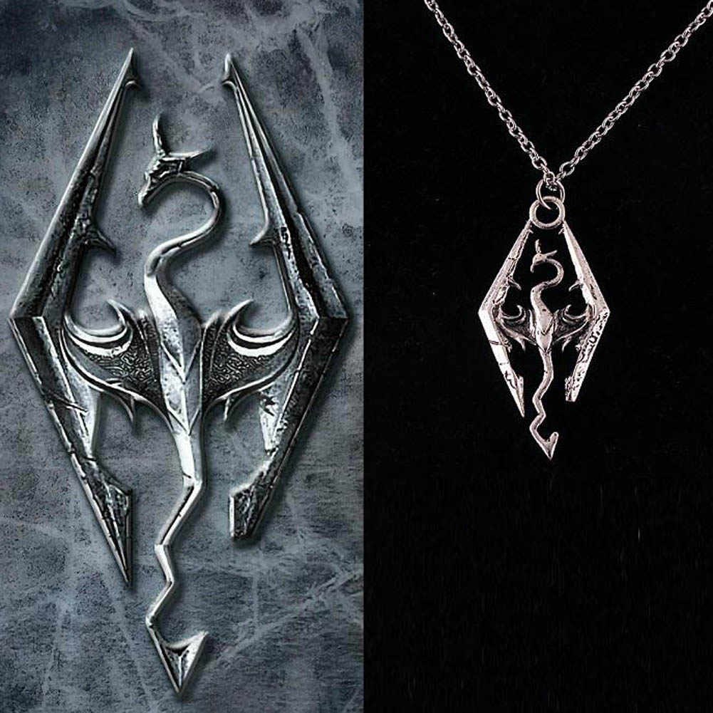 Hot Selling Dinosaur Pendant Necklace Skyrim Elder Scrolls Dragon Pendants Vintage Necklace For Men/women Jewelry